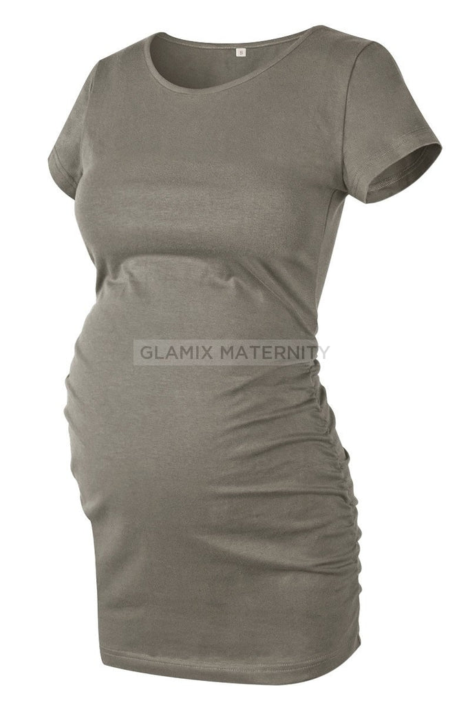 Ruched Maternity T-Shirt With Short Sleeves Gray / S Tops