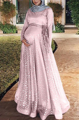Scoop Double Layered Maternity Long Dress