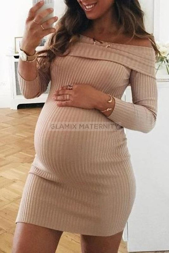 Sexy Bodycon Off-the-shoulder Short Maternity Dress