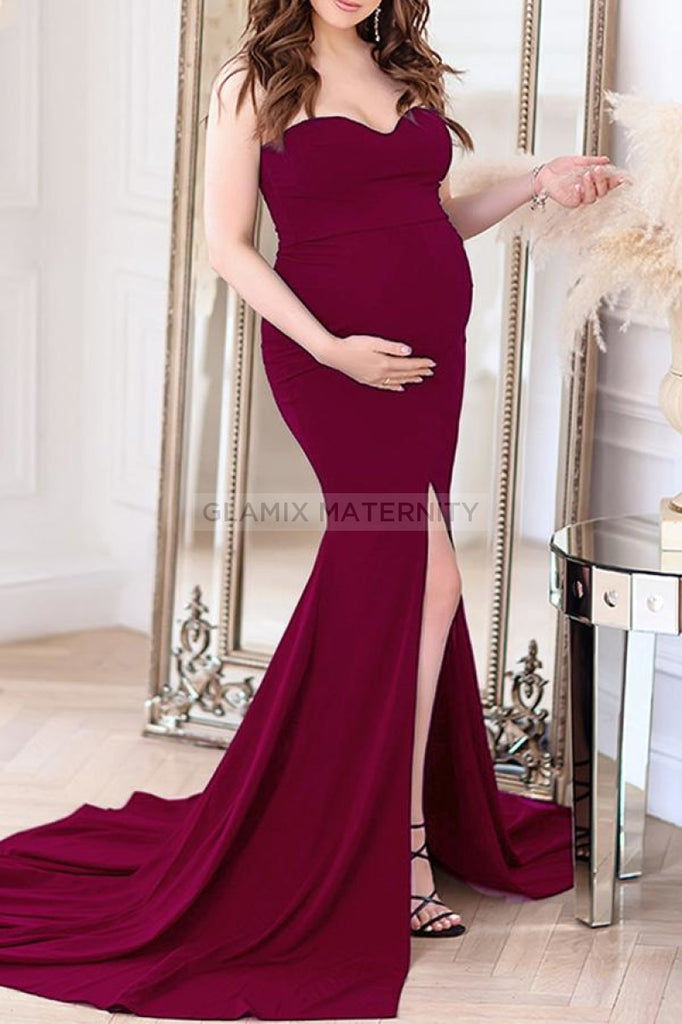 Sexy Strapless Thigh-high Slit Maternity Dress