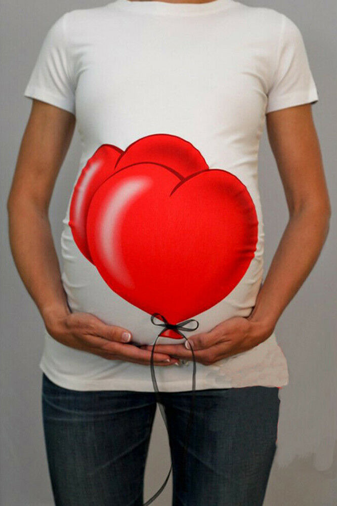Side Ruched Balloon Print Maternity Tee