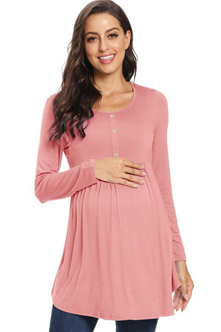 Soft Maternity Buttoned Shirt Ruched Maternity Top
