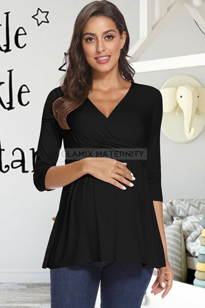 Soft Maternity Top Pregnancy Breastfeeding Nursing Shirt