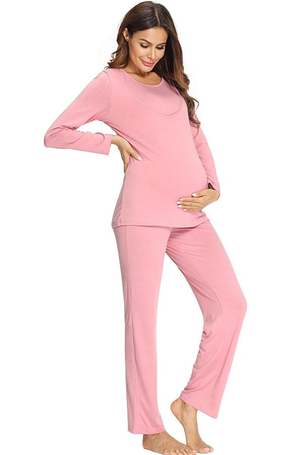 Soft Pregnancy Nursing Pyjamas Set Mutterschaft Stillen Nachtwäsche