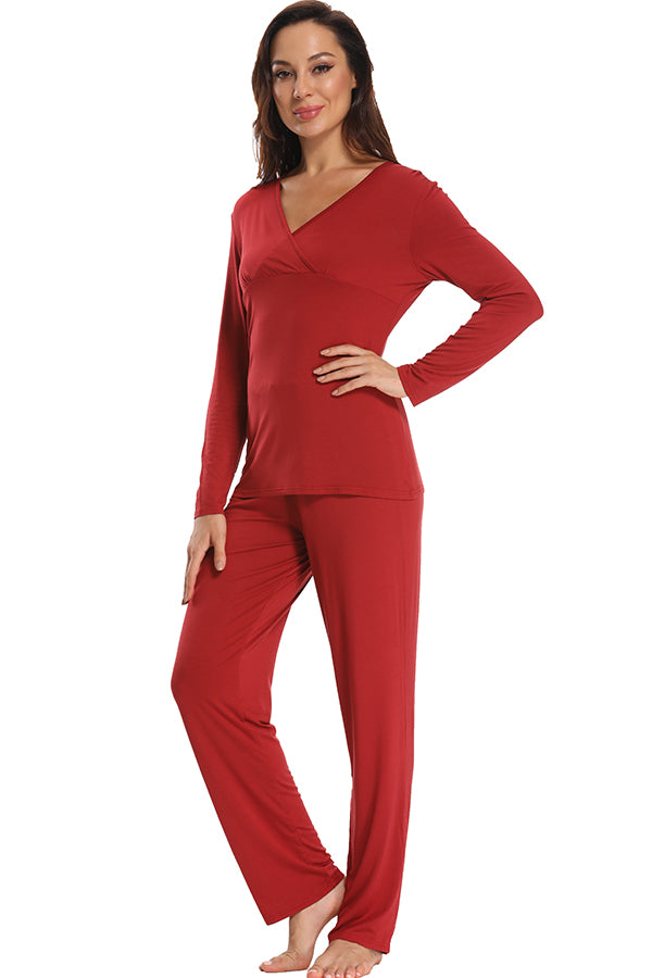 Soft Two Pieces Maternity Pajamas Women Nightwear Set