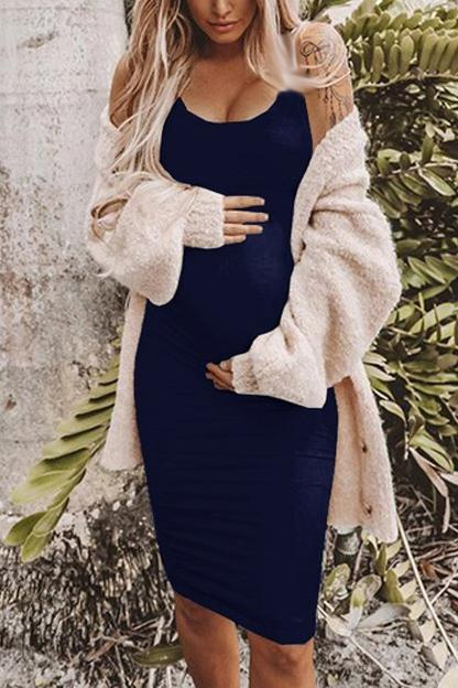 Solid Sleeveless Maternity Tank Dress