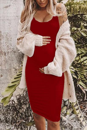 Solid Sleeveless Maternity Tank Dress Red / M Dresses