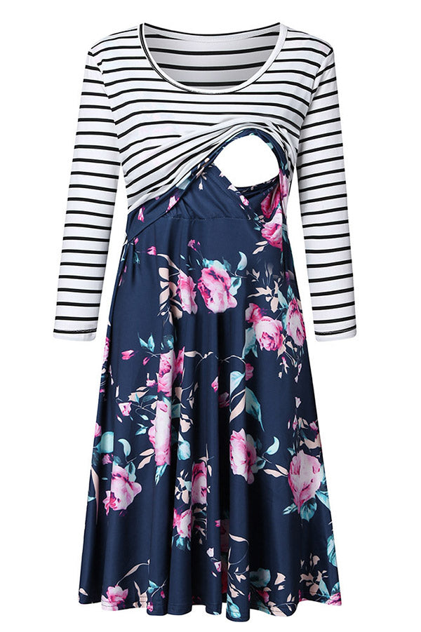 Striped Printed Two-tone Nursing Dress