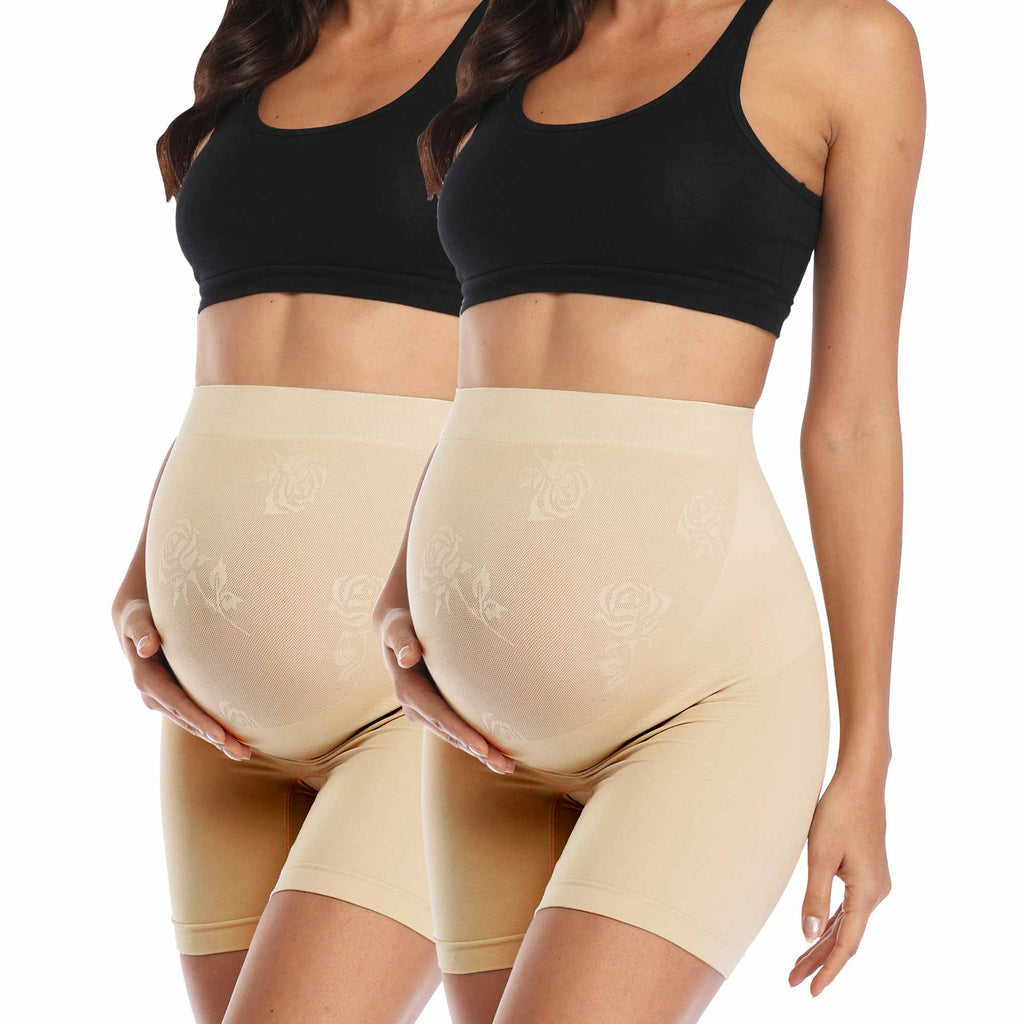 Nude Seamless High Waisted Maternity Panties 2 Packs