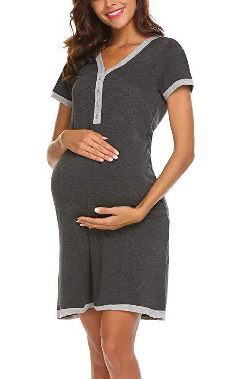 V-neck pregnancy Buttoned Maternity & Nursing Dress