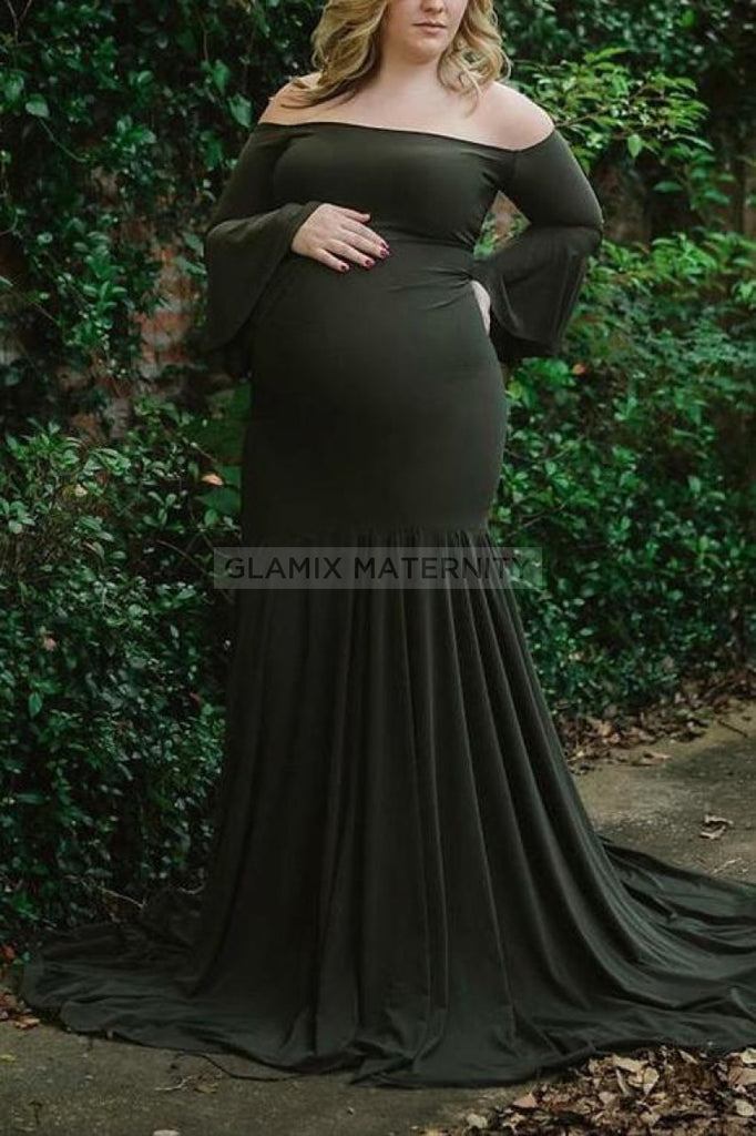 Elegant Off Shoulder Ruffled Photoshoot Maternity Dress Dark Green / S Dresses