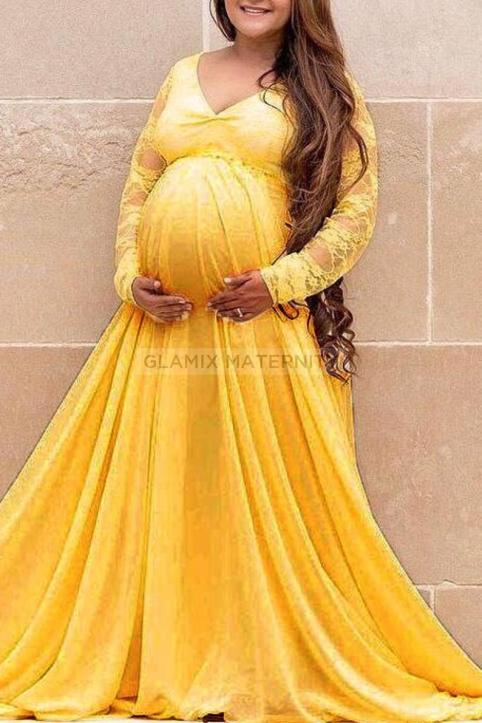 Fabulous A-line Lace Maternity Dress With Sleeves