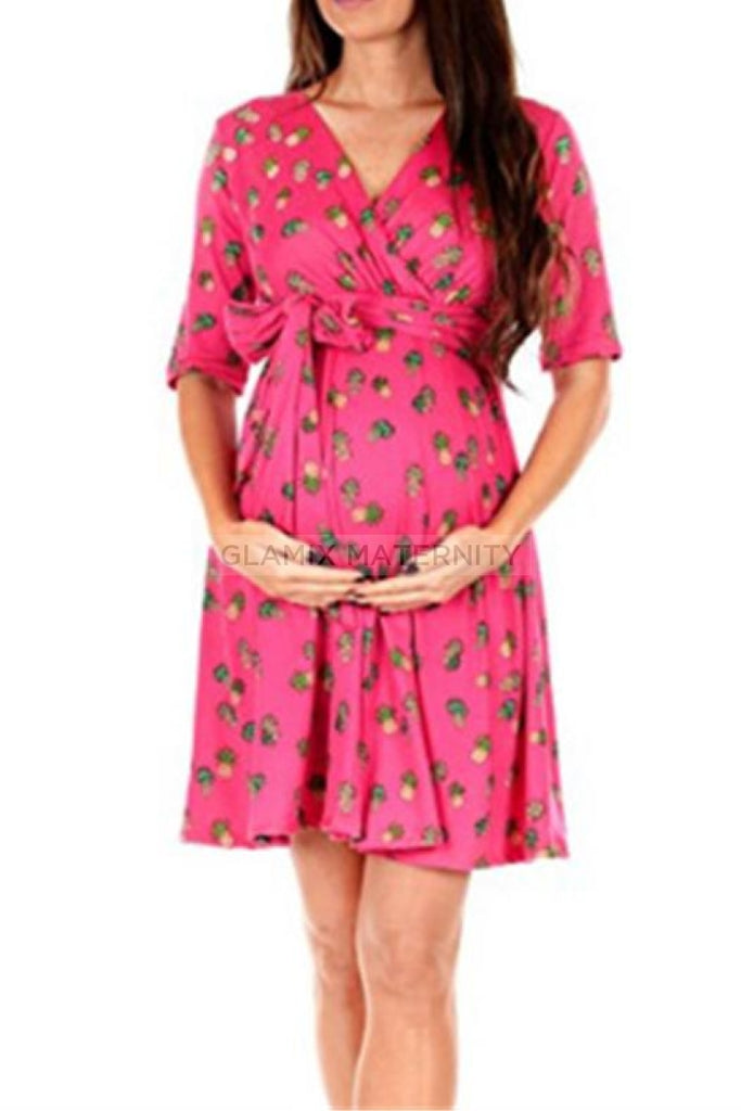 Floral Wrap Maternity Dress For Summer Pink / S Dresses