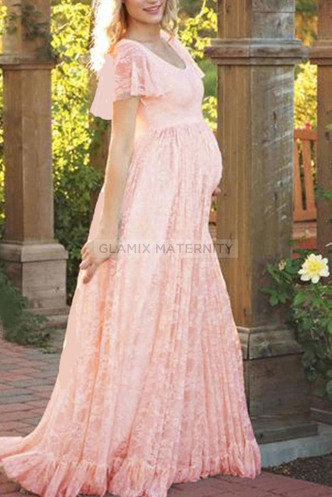 Lace Scoop Maternity Photoshoot Long Dress Dresses