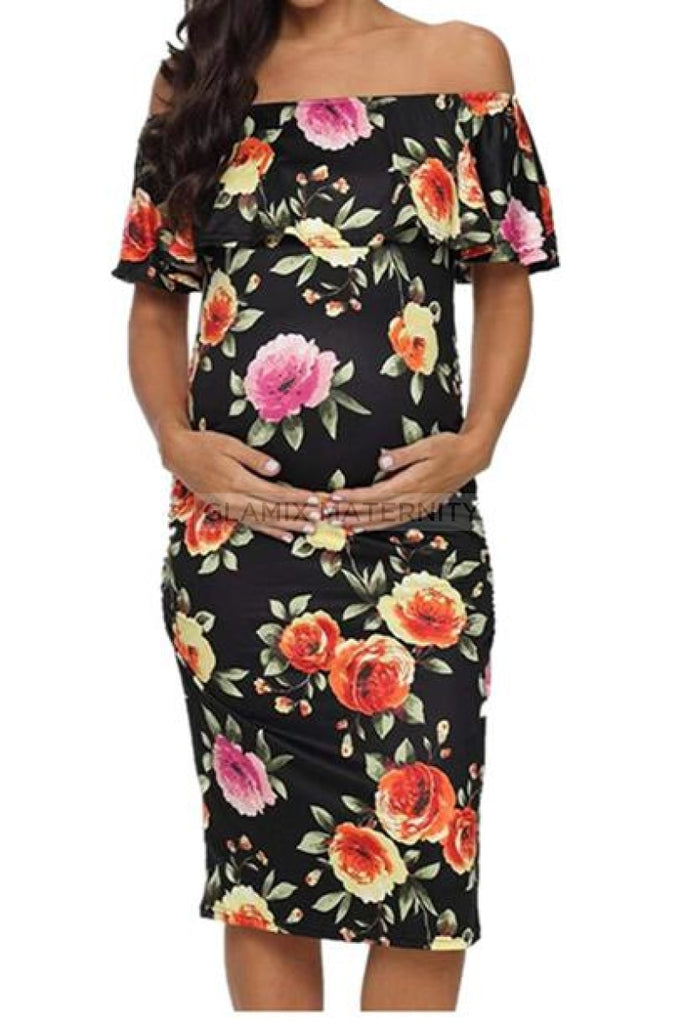 Off Shoulder Floral Mutterschaft Bodycon Kleid