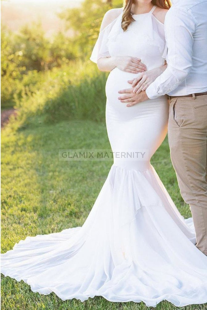Off Shoulder Mermaid Photoshoot Maternity Gown White / S Dresses
