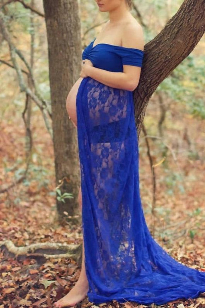 Off Shoulder Open Lace Maternity Photoshoot Dress Royal Blue / L Dresses