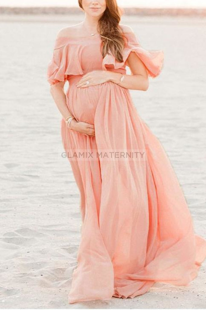 Off-The-Shoulder Loose Photoshoot Maternity Dress Dresses