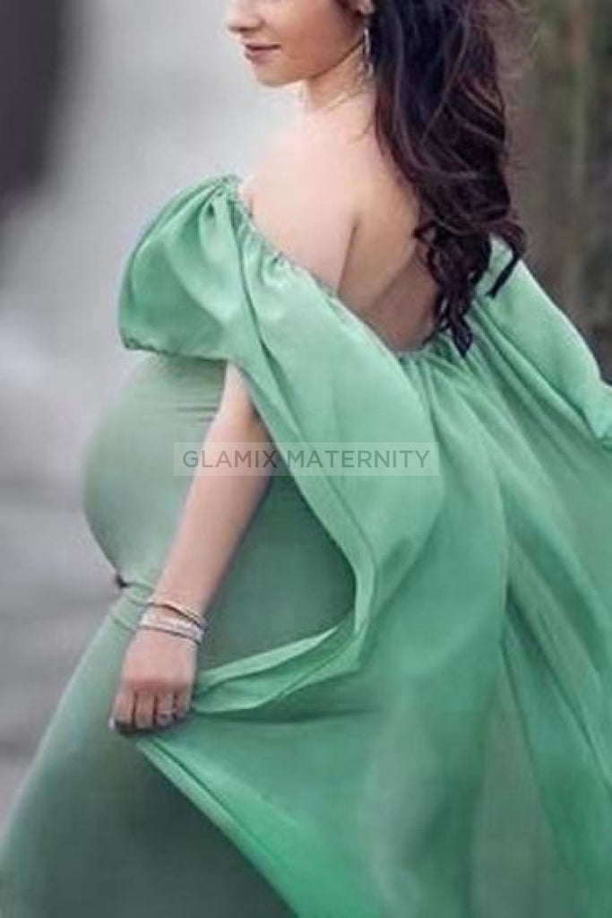 Off-The-Shoulder Photoshoot Maternity Chiffon Flare Gown Green / S Dresses