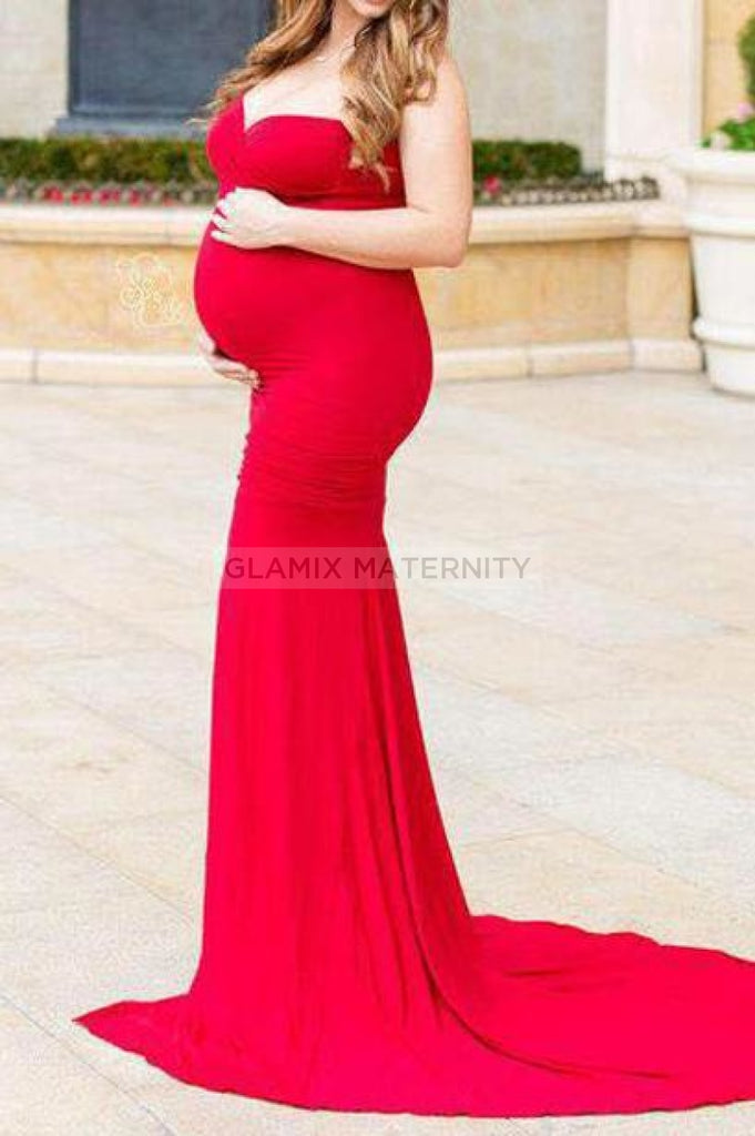 Pregnancy Strapless Sweetheart Flare Maternity Gown Red / S Dresses