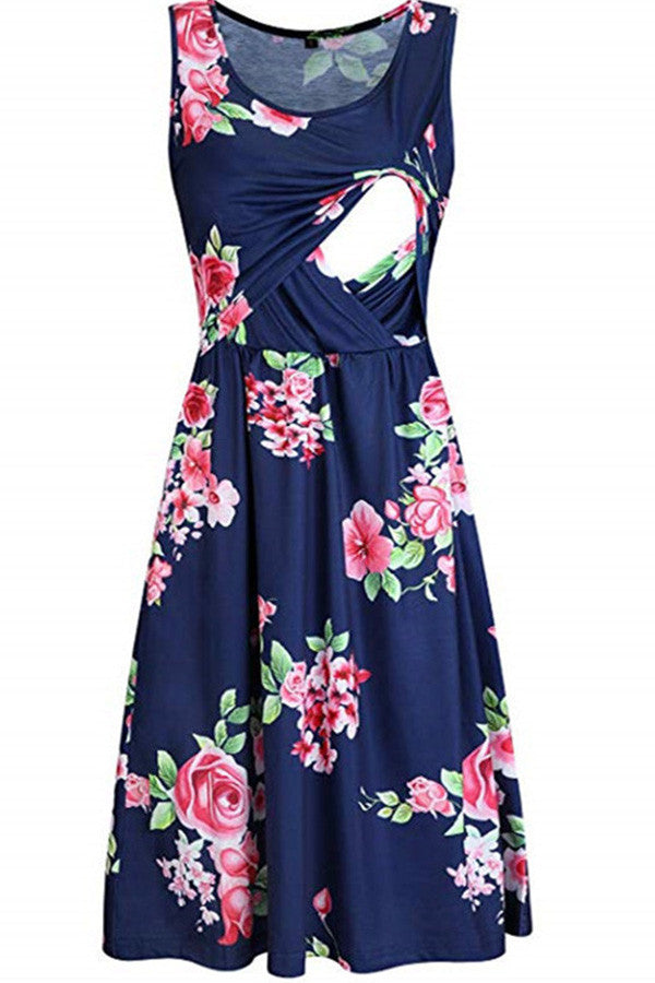 Printed Sleeveless Maternity Nursing Dress