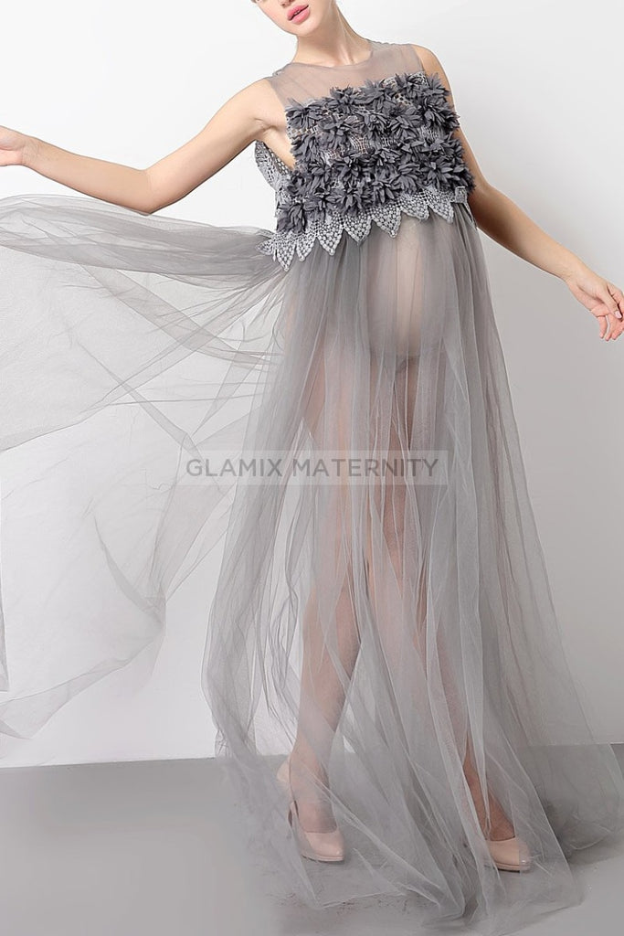 Scoop See Thru Tulle Maternity Photoshoot Dress Dresses