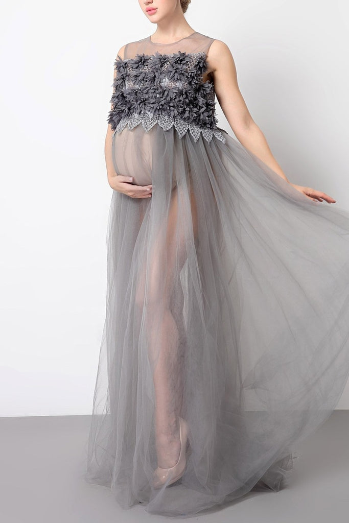 Scoop See Thru Tulle Maternity Photoshoot Dress Gray / One-Size Dresses