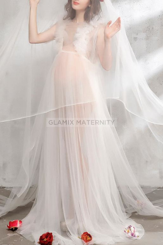 See-Thru Maternity Gown Dress For Photoshoot Dresses