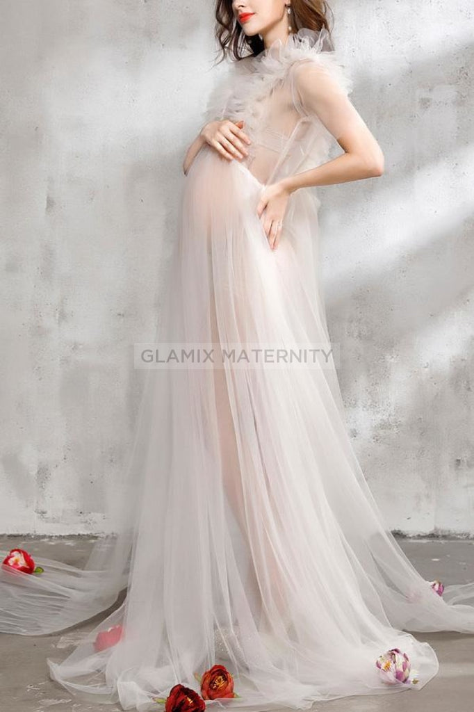 See-Thru Maternity Gown Dress For Photoshoot White / One-Size Dresses