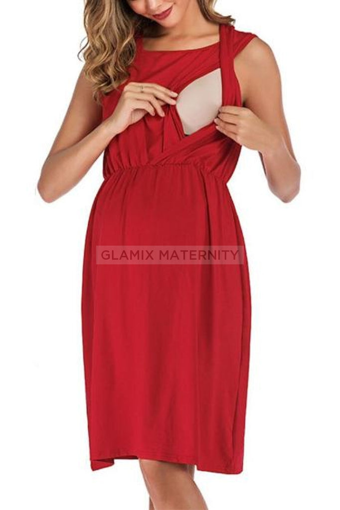 Sleeveless Scoop Loose Maternity & Nursing Dress Dresses