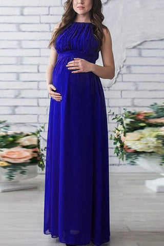 Solid Chiffon Sleeveless Maternity Maxi Dress Royal Blue / S Dresses