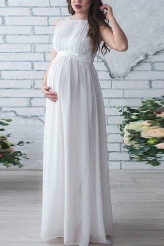 Solid Chiffon Sleeveless Maternity Maxi Dress White / S Dresses