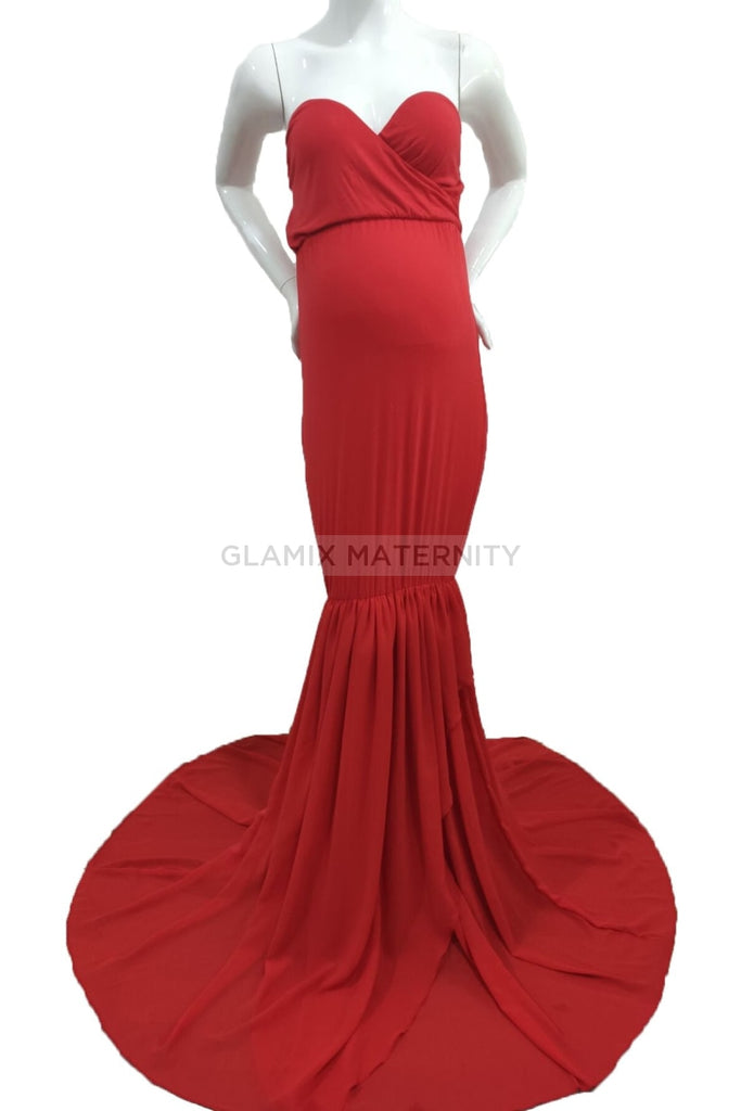 Strapless Mermaid Sweetheart Maternity Photoshoot Gown
