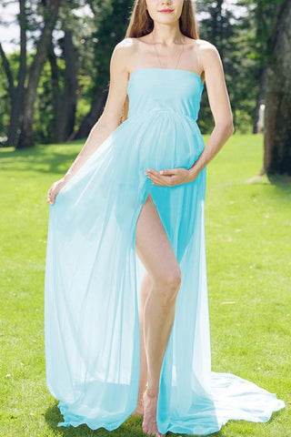 Strapless Slit Maternity Photoshoot Dress Light Sky Blue / One-Size Dresses