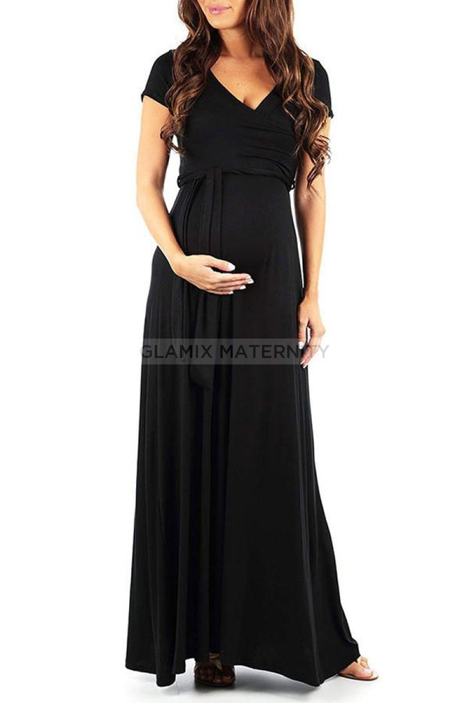 V-neck Lace-up Maternity Dress With Short Sleeves