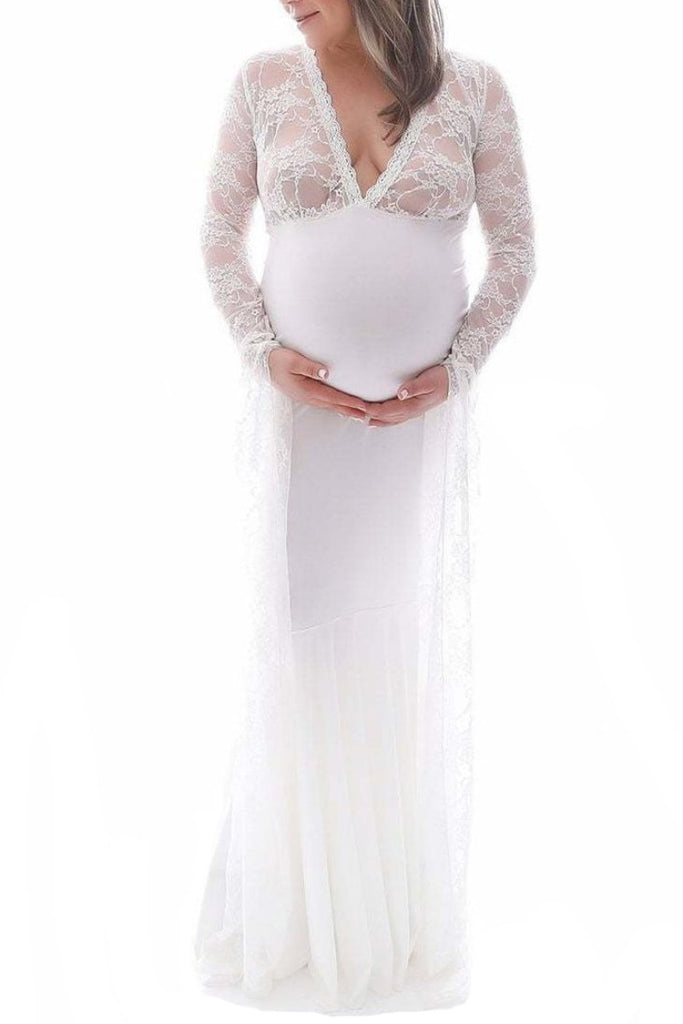 White Deep V-neck Lace Mermaid Maternity Dress