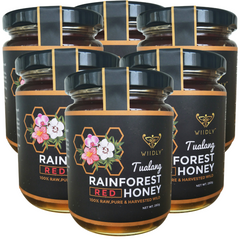 6 Jars of Wild Red Tualang Rainforest Honey (10oz/280g)