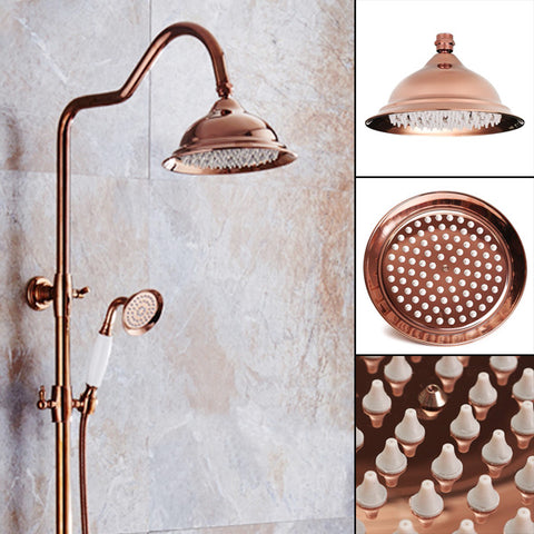luxury Dual Spray shower head shown in marble shower brass color