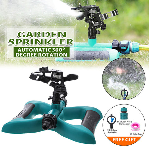 garden lawn sprinkler has automatic 360 degree rotation with 1 rotary sprinkler kit, quick hose connector and water tape.
