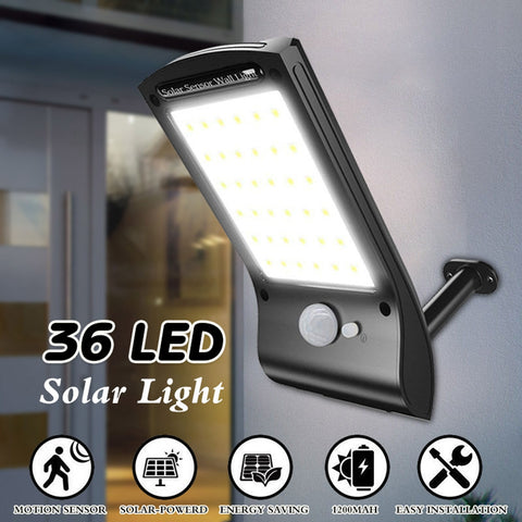 Solar powered security light provides 36 LED lights activated with motion sensor.