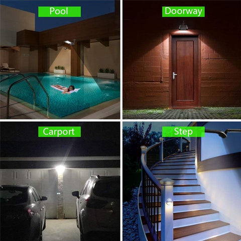 Solar powered security light can be placed anywhere.  Some locations include the pool, doorway, carport, over steps, the yard or garden.