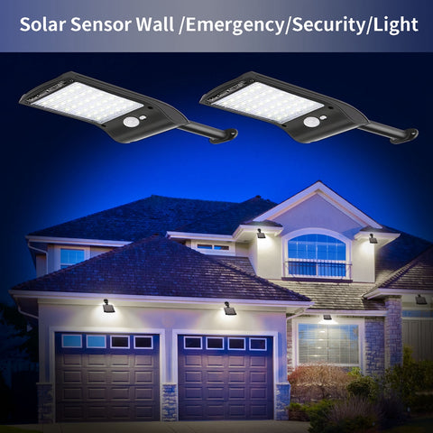 Solar powered security lights installed around the house.