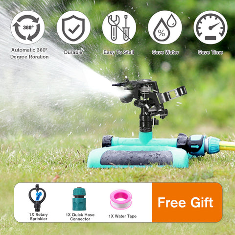 Durable garden lawn sprinkler is easy to install, saves water and time with 360 degree rotation.