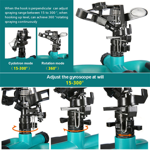 Garden lawn sprinkler system rotation can be adjusted with gyroscope adjustment 15 to 300 degrees in cyclonton mode and 360 degree rotaion mode.