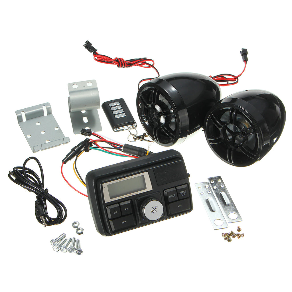 Motorcycle Handlebar Stereo System Radio Amplifier MP3 Speakers with bluetooth Function all hardware included to install