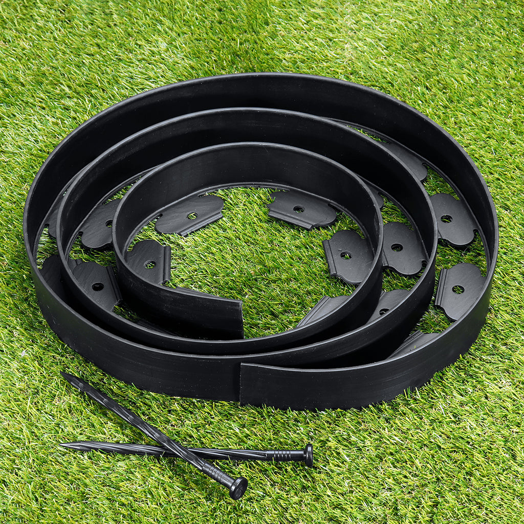Garden Flexible Lawn Grass Plastic Edging Border and Pins on lawn
