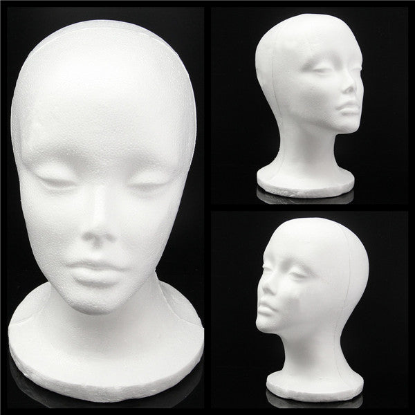 Foam Styrofoam Mannequin Head Wig Hair Display Holder Female Head Model