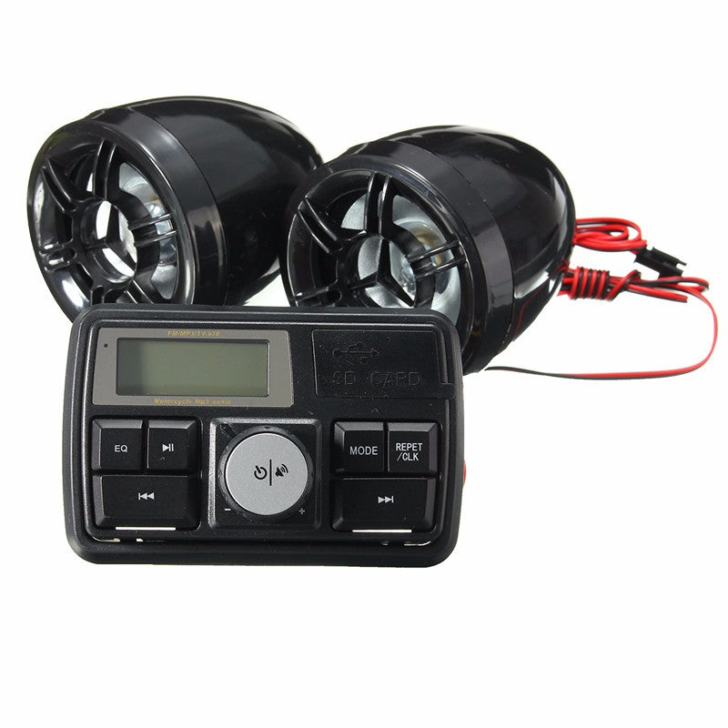 Motorcycle Handlebar Stereo System Radio Amplifier MP3 Speakers with bluetooth Function Complete aftermarket system to connect to your iphone or android.