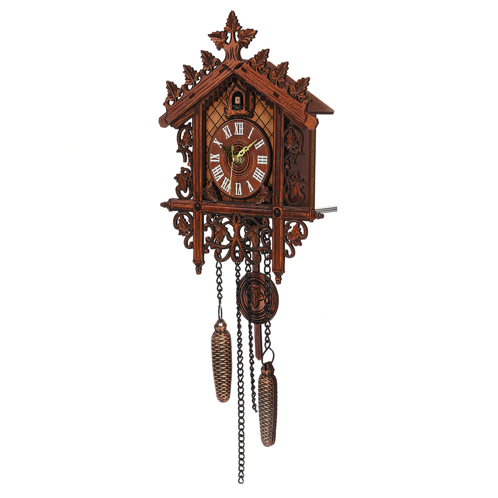 Vintage Handcraft Wood Cuckoo Wall Clock Tree House Swing Wall Clock Art Home Decorations right angle view