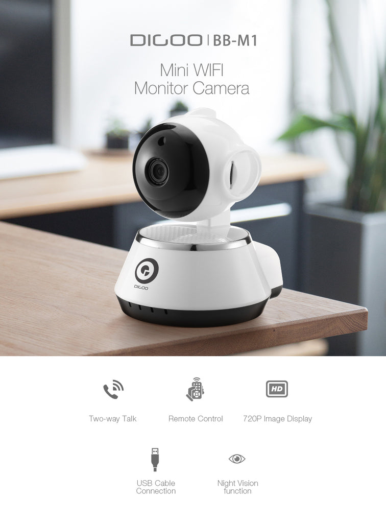 HD WIFI baby camera monitor with two way audio features two-way talk, remote control, 720 image displayy, usb cable connection and night vision.